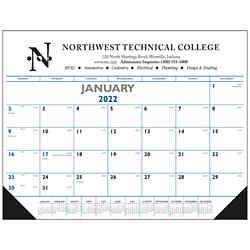 Customized Triumph® Blue & Black Desk Pad Calendar
