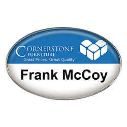 Customized Oval Full Colour Die Cast Metal Name Badge