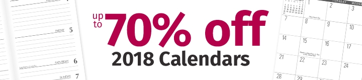 Up to 70% off 2018 Calendars