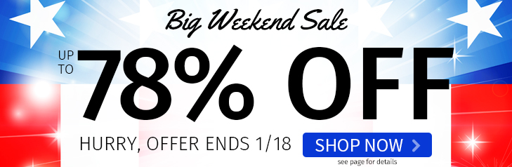 Big Weekend Sale - Up to 78% Off. Hurry, Offer Ends 1/18.