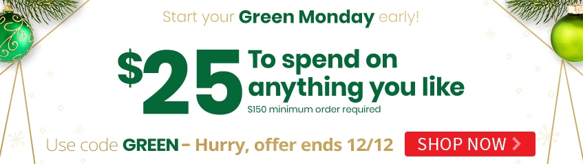 Green Monday: $25 off $150 Sitewide - GREEN
