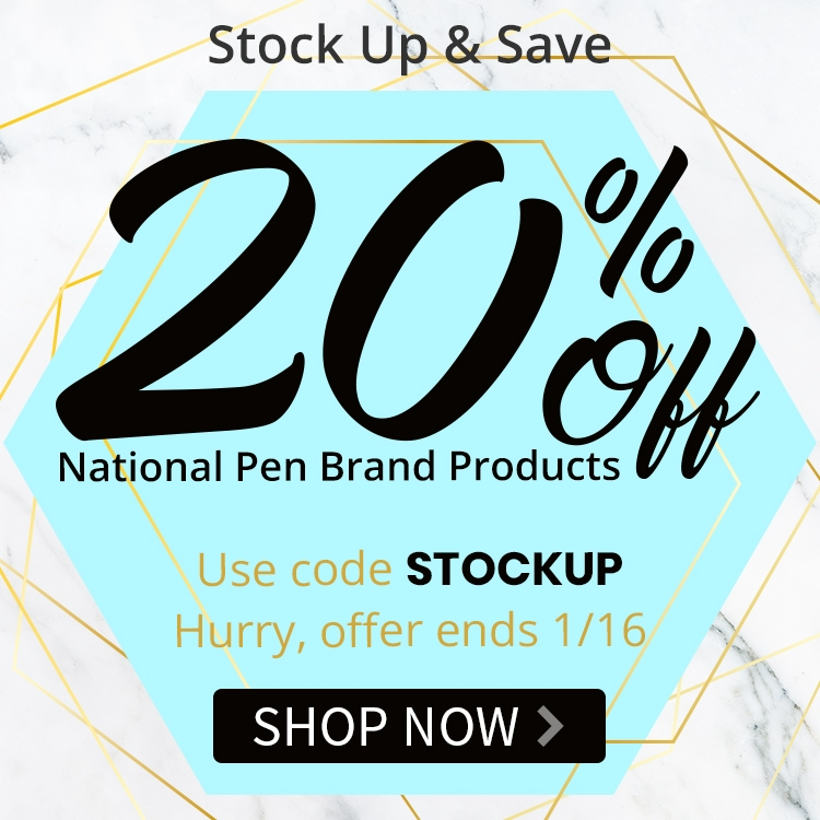 Stock up with 20% of national pen brand products