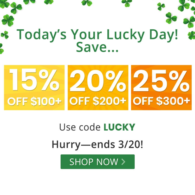 Tiered offer St. Patrick's Day with promo code LUCKY