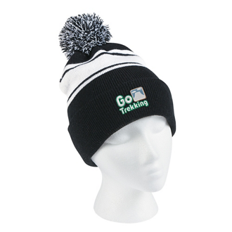 Customized Two-Tone Knit Pom Beanie with Cuff