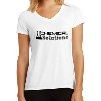 Customized District Made Ladies' Perfect Tri V-Neck Tee-Wht