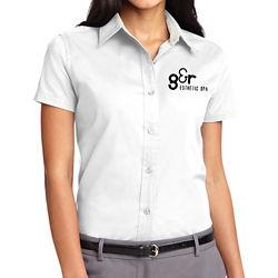 Customized Port Authority Ladies Sh Slv Easy Care Shirt-Wht