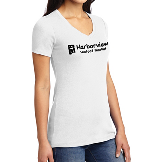 Customized Port Authority Ladies Concept Stretch V-Neck T-Wht