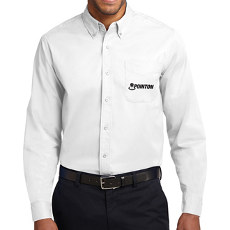 Customized Port Authority Long Sleeve Easy Care Shirt-Wht