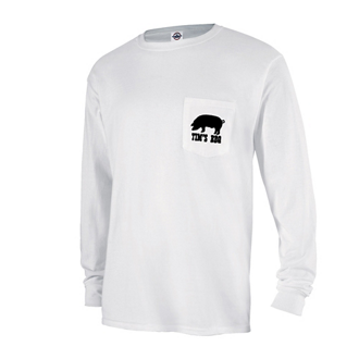 Customized Delta® Magnum Weight™ Long Sleeve Pocket Tee-White