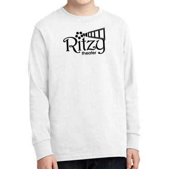 Customized Port & Company Youth Long Sleeve Cotton T-White