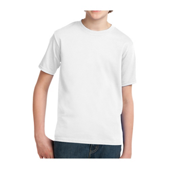 Customized Port & Co® Polyester Youth Essential Tee - White