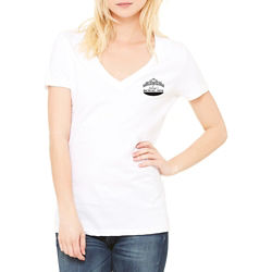 Customized Bella + Canvas® Ladies Jersey SS V-Neck Tee-White