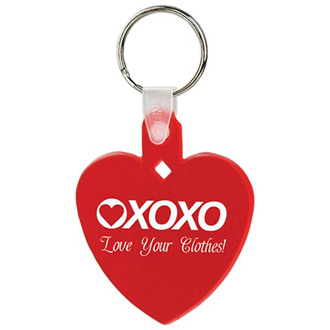 Customized Soft Squeezable Key Tag - Heart