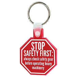 Customized Soft Squeezable Key Tag - Stop Sign