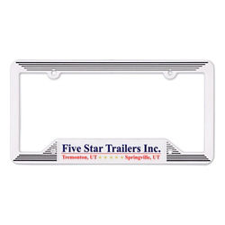 Customized White Molded License Plate Frame