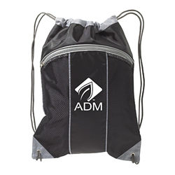 Customized The Leader - 2 Tone Mesh & Nylon Drawstring Tote