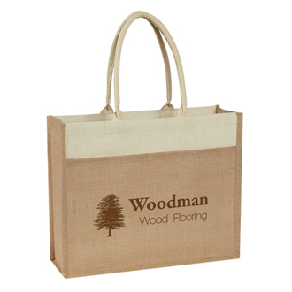 Customized Jute Tote with Front Pocket