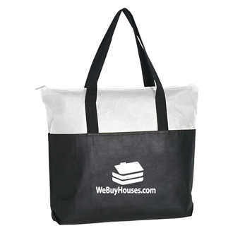Customized Black Tote Bag with Zippered Top