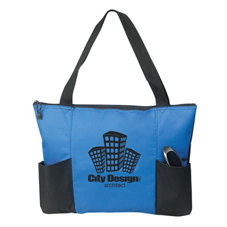 Customized Double Pocket Zippered Tote Bag