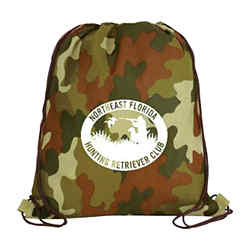 Customized Non Woven Camo Drawstring Backpack