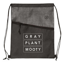 Customized Two-Toned Grayson Heathered Drawstring Bag