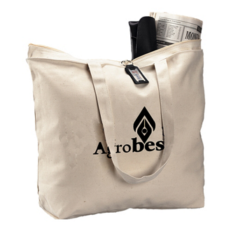 Customized Natural Zipper Tote Bag
