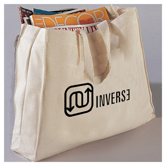 Customized Natural Canvas Gusset Tote Bag