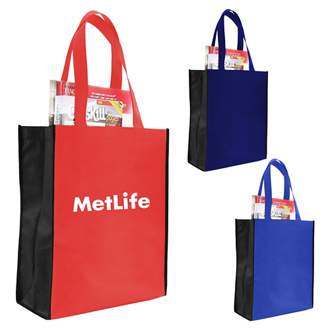 Customized Non Woven Two-Tone Tote/ Book Bag