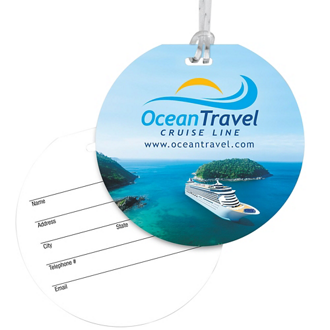 Customized Round Luggage Tag with Clear Strap - Full Colour