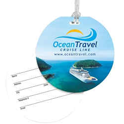 Customized Round Luggage Tag with Clear Strap