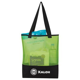 Customized Sheer Mesh Pinstripe Tote Bag