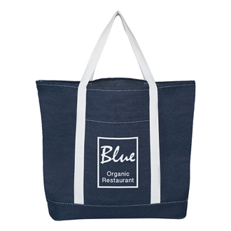 Customized Denim Shopping Tote Bag