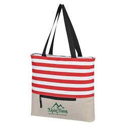 Customized Broad Stripe Zippered Tote Bag