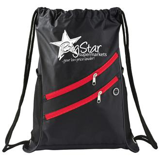 Customized Dual Zipper Pocket Drawstring Bag