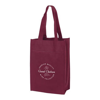 Customized Condor Wine Tote Bag with Front Pocket - 2 Bottle
