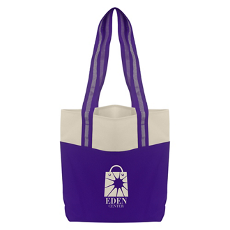 Customized Reusable Two-Toned Tulip Shopper Tote Bag
