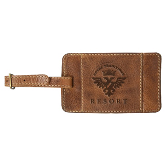 Customized Wright Full Grain Leather Luggage Tag
