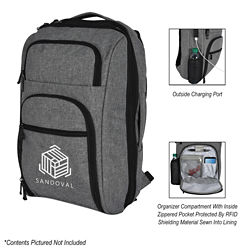 Customized Heathered RFID Laptop Backpack & Briefcase