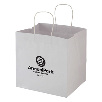 Customized Wide Gusset White Takeout Bag-12