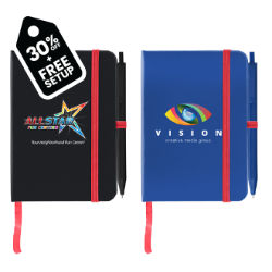 Customized Full Colour Inkjet Jane Journal with Contrasting Strap & Matching Pen