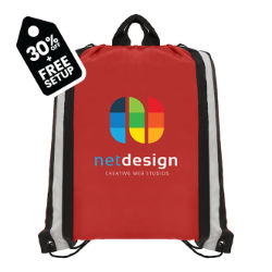 Customized Britebrand™ Polyester Drawstring Bag with Reflective Stripes