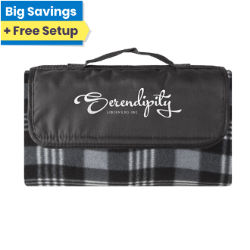 Customized Water Resistant Fleece Plaid Picnic Blanket