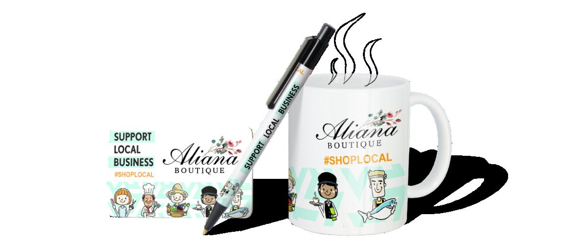 Promotional Custom Logo Products Hero of Business Card, Pen, Mug