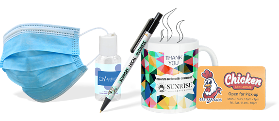 Custom COVID-19 Products Hero of Face Mask, Hand Sanitizer, and Promo Pen, Cup, Business Card