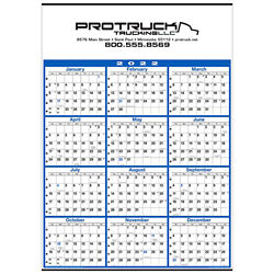 Customized Yearly Business Planner Wall Calendar - Blue