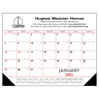Customized Triumph® Red & Black Desk Pad Calendar