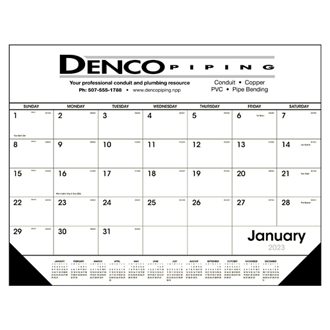 Customized Triumph® Black & White Desk Calendar