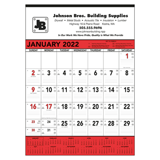 Customized Triumph® Red & Black Contractor Memo Calendar