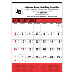 Customized Triumph® Red & Black Contractor Memo Calendar