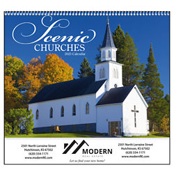 Customized Good Value™ Scenic Churches Calendar (Spiral)
